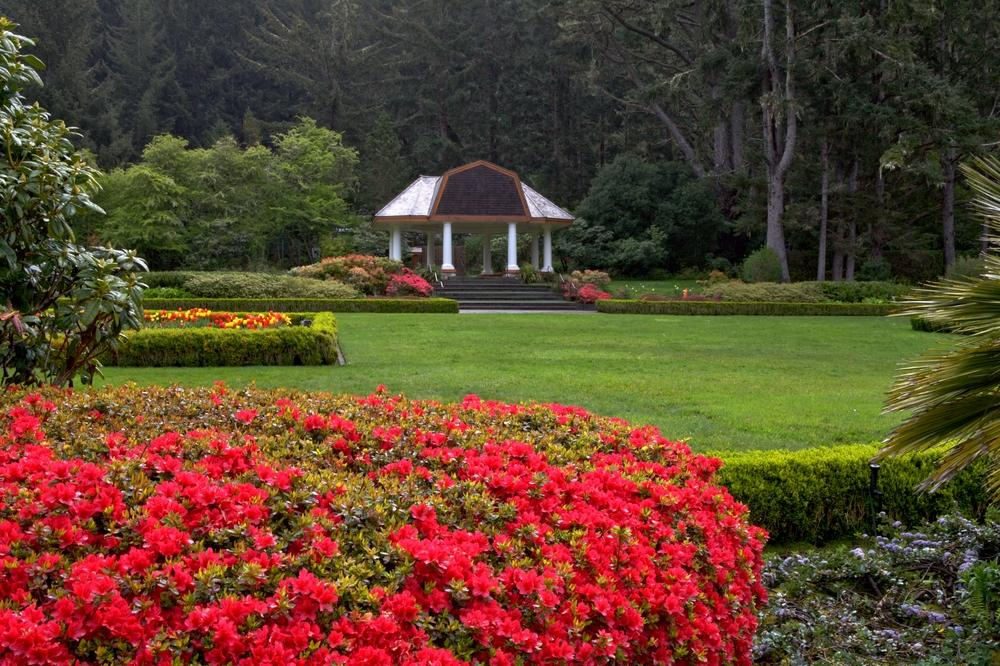 Scenic view of Coos Bay Botanic Gardens with lawn, flowers, gazebo