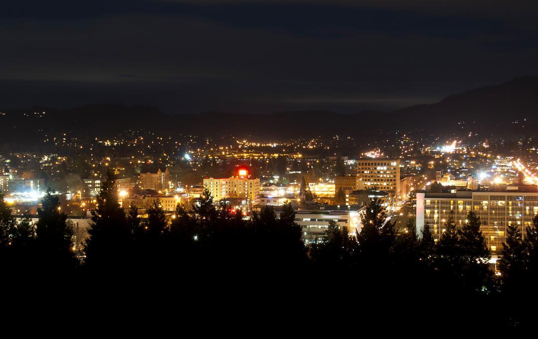 City skyline of lights at night