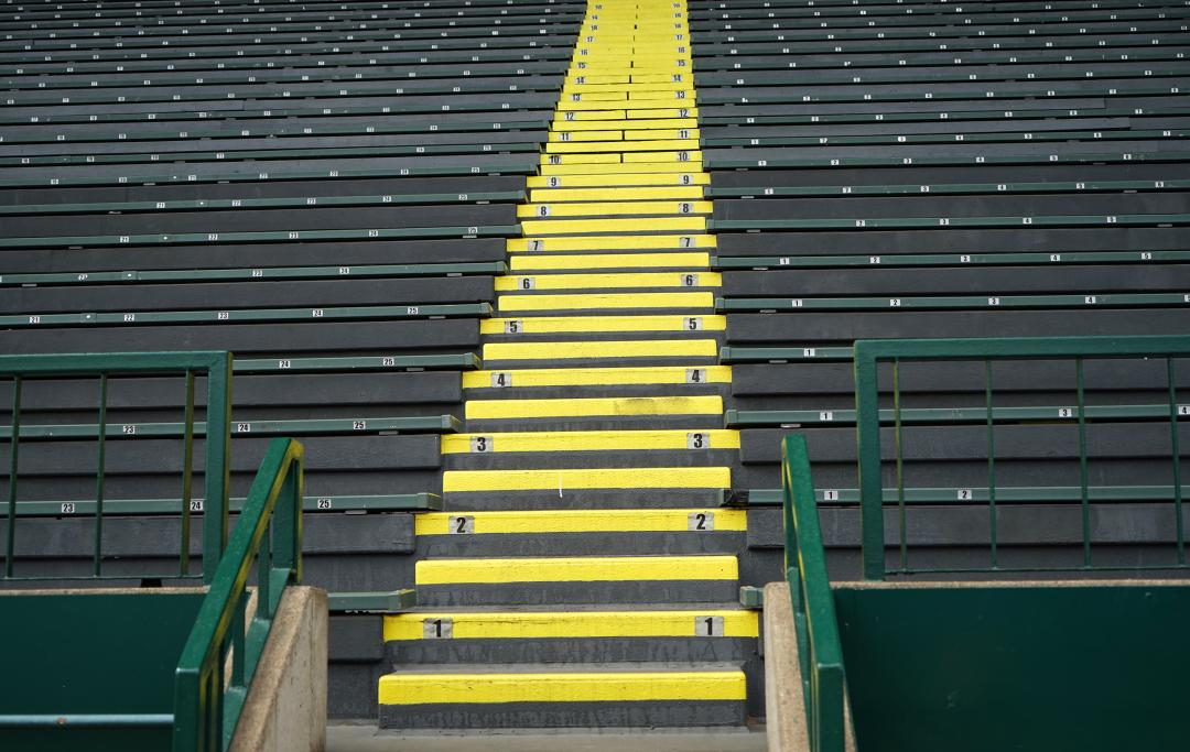 Stadium stairs that are empty