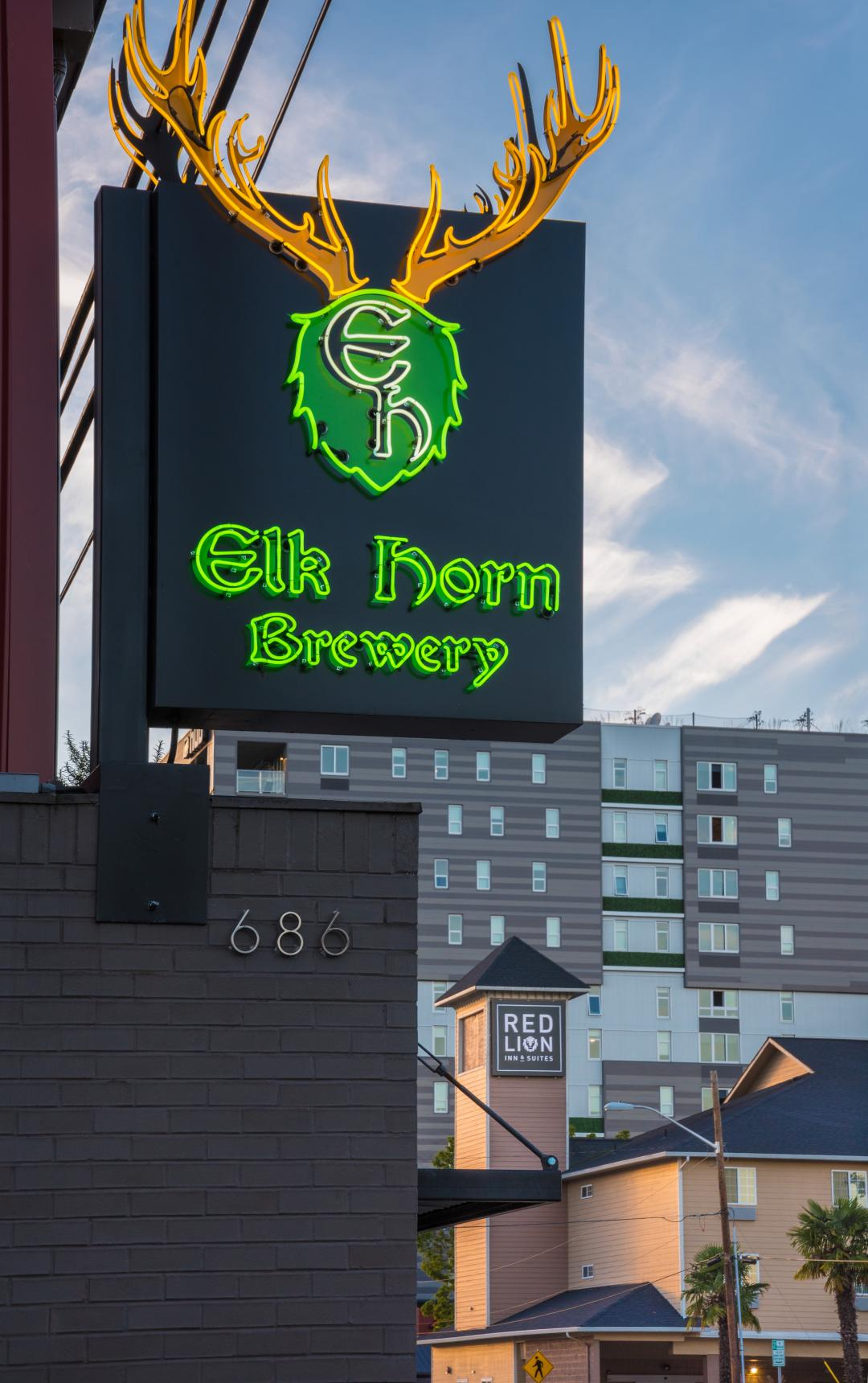 Elk Horn Brewery across street from Red Lion Inn and Suites Eugene