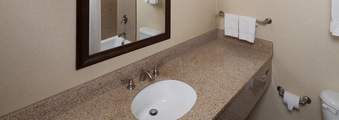 Guest Bathroom vanity sink and large mirror