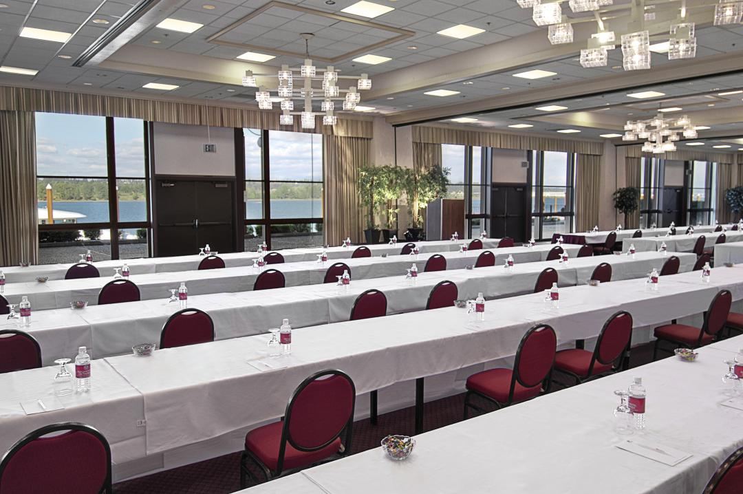 Spacious ballroom set for conference and view outside