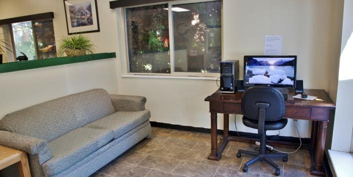Lobby sofa with business desk
