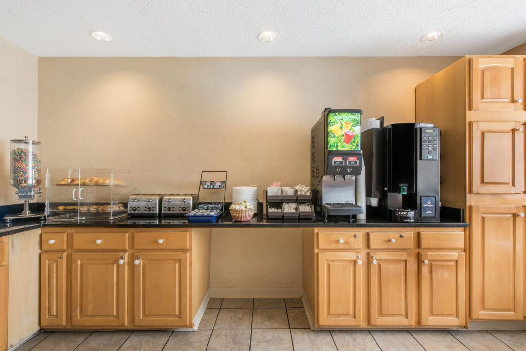 Complimentary breakfast includes cereal, pastries, juice and coffee