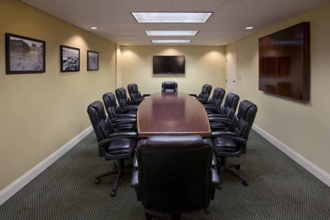 Conference room with mounted TV
