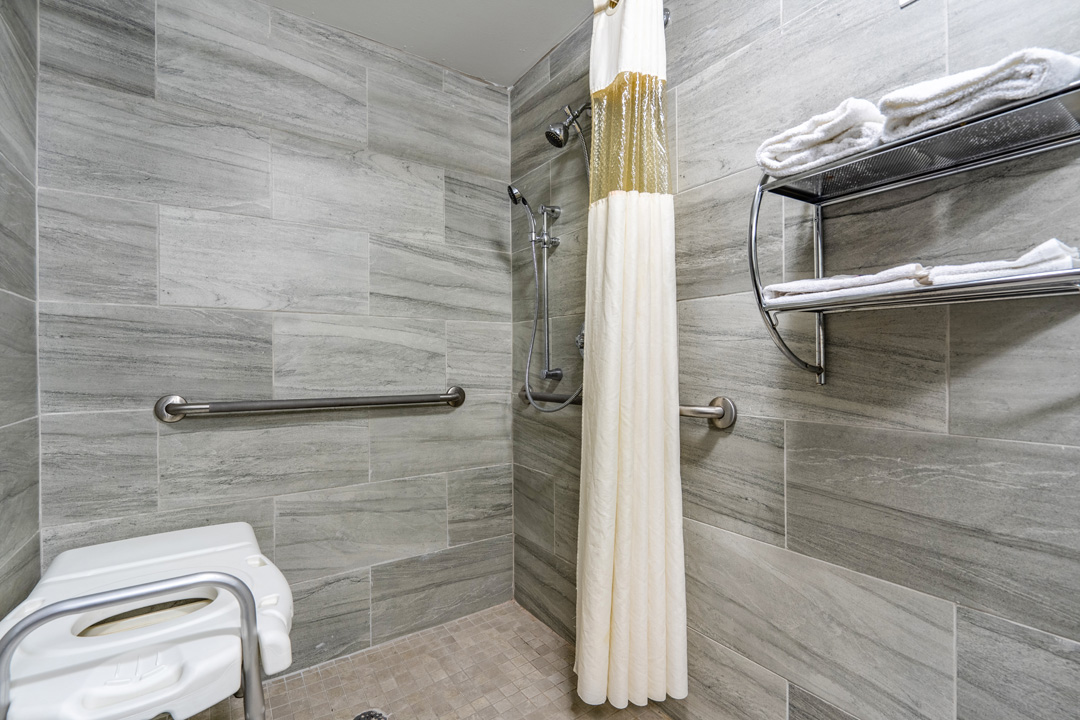 Accessible Guest Bathroom with Roll In Shower