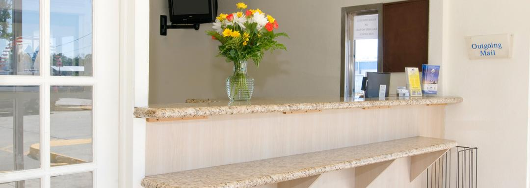Hotel front desk with vase of flowers