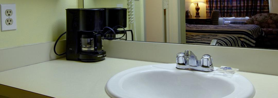 Guest Room Vanity with Coffee Machine