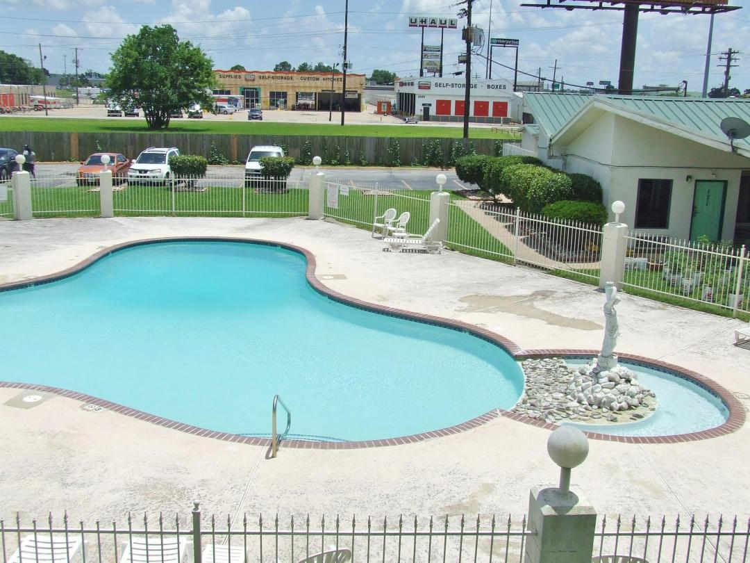 Outdoor pool with large seating area