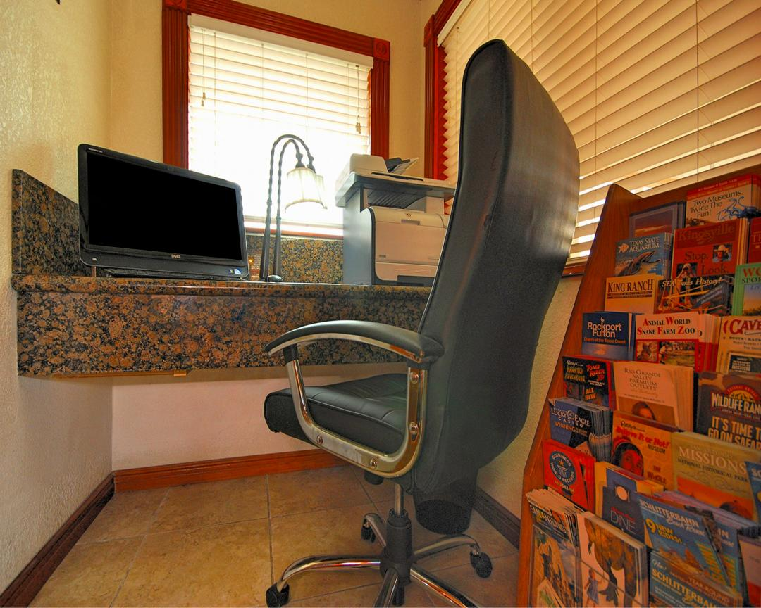 Business Center with chair, computer, printer