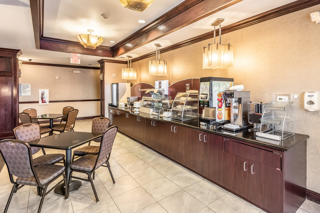 Breakfast counter and dining area
