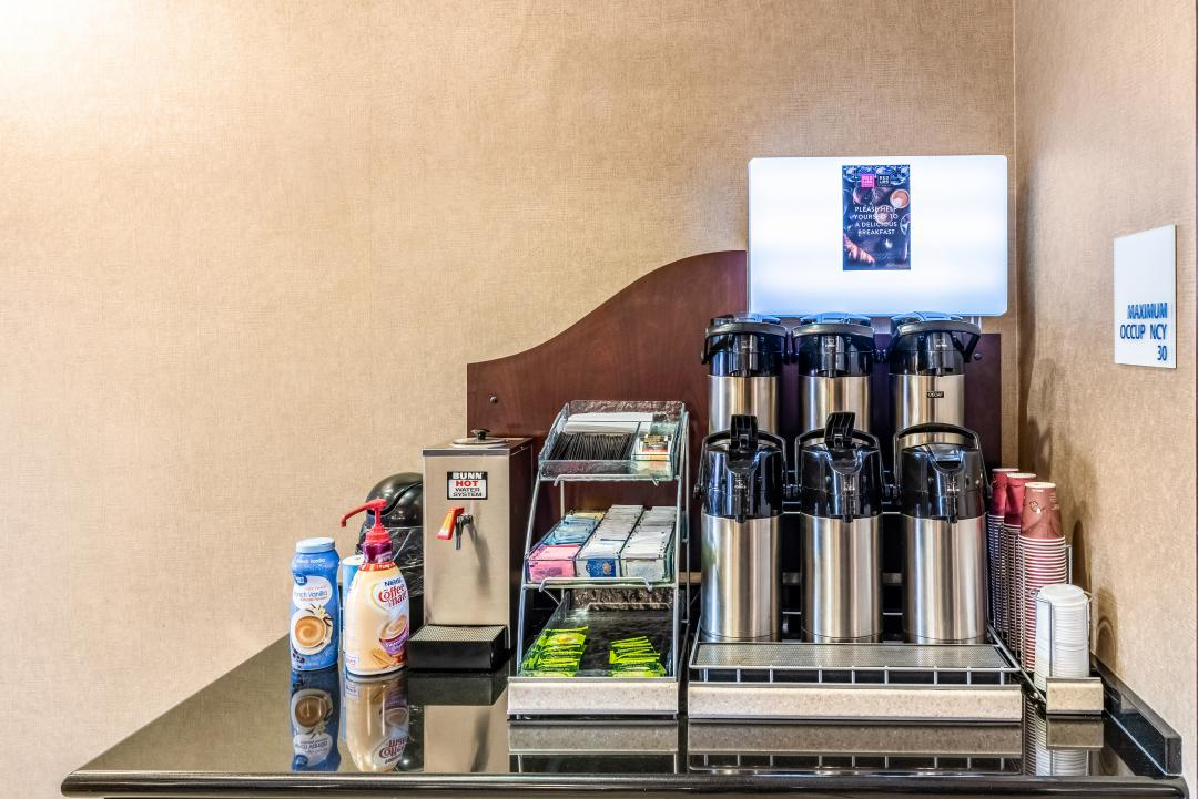 Breakfast counter with coffee