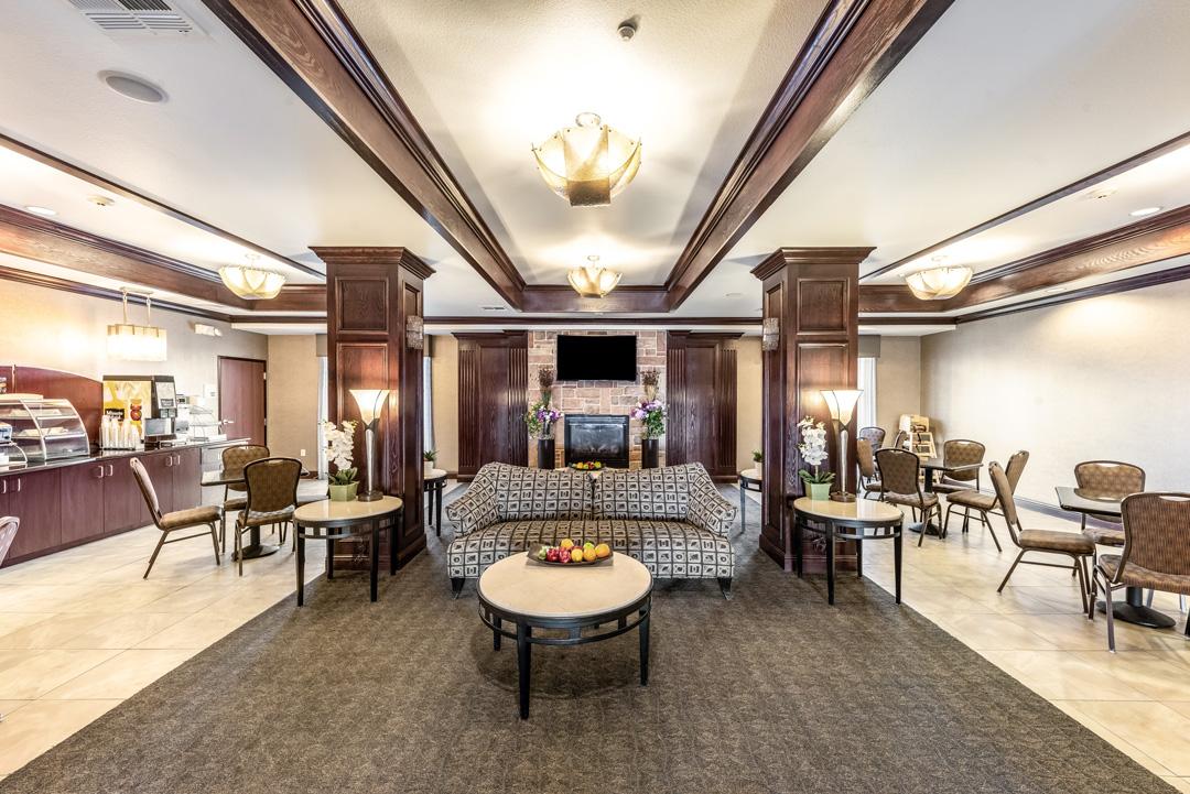 Elegantly designed hotel lobby and sitting area