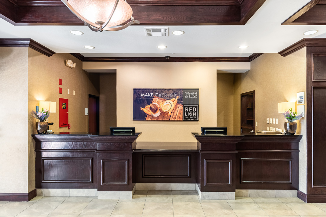 Hotel lobby and front desk