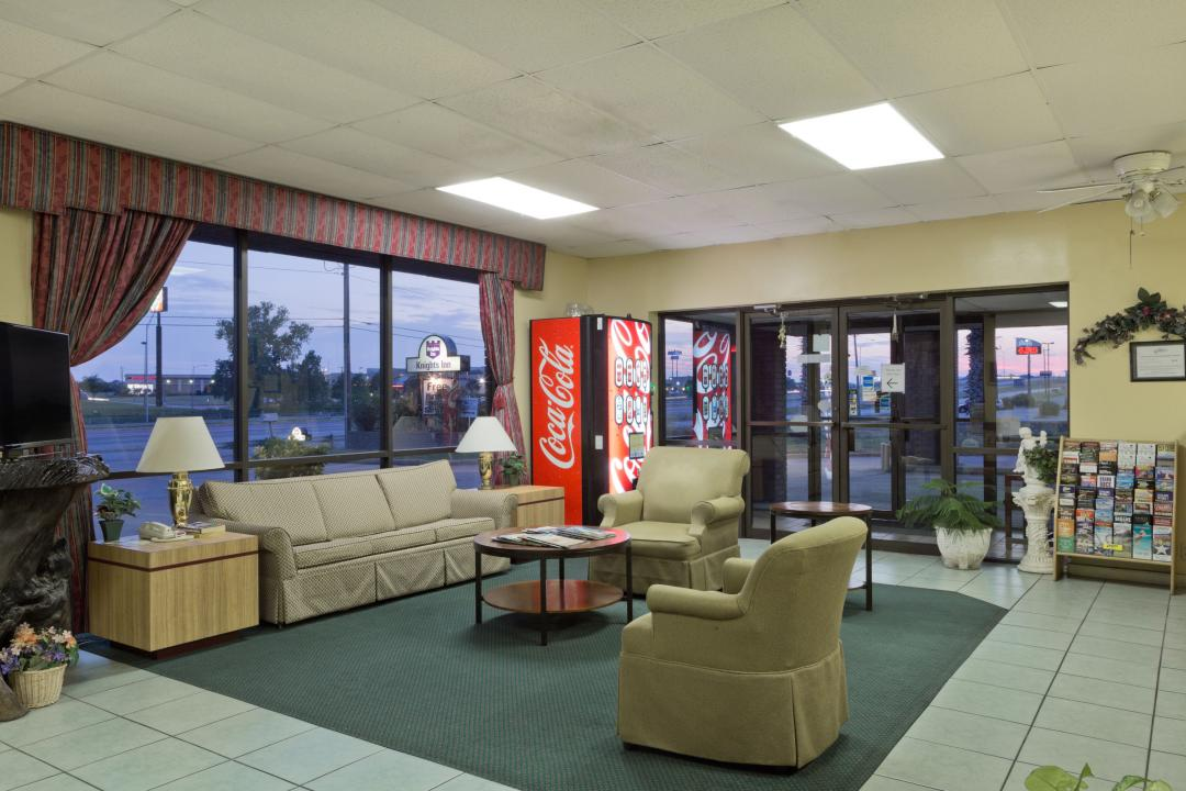 Lobby seating area with vending machine