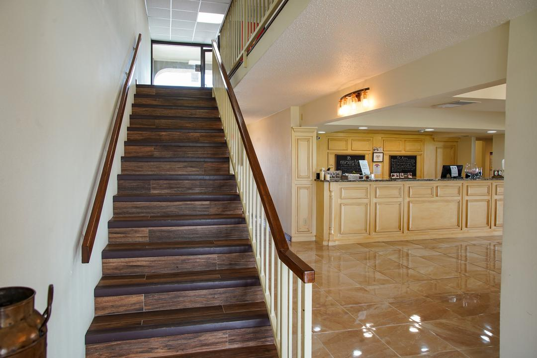 Stairs to second story guest rooms