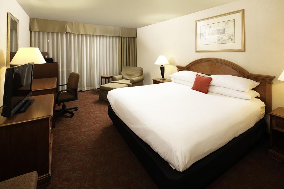 View of our Spacious One Queen Bed Guest Room with a TV and Chase Lounge.