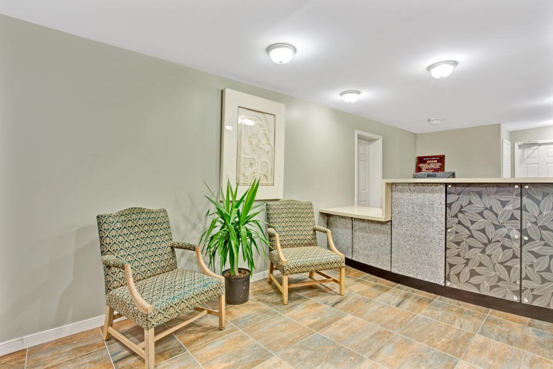 Modern lobby by front desk