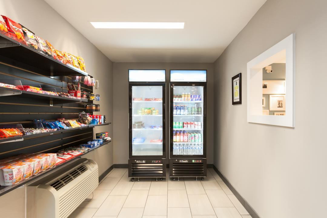 Vending machines and snack shelf