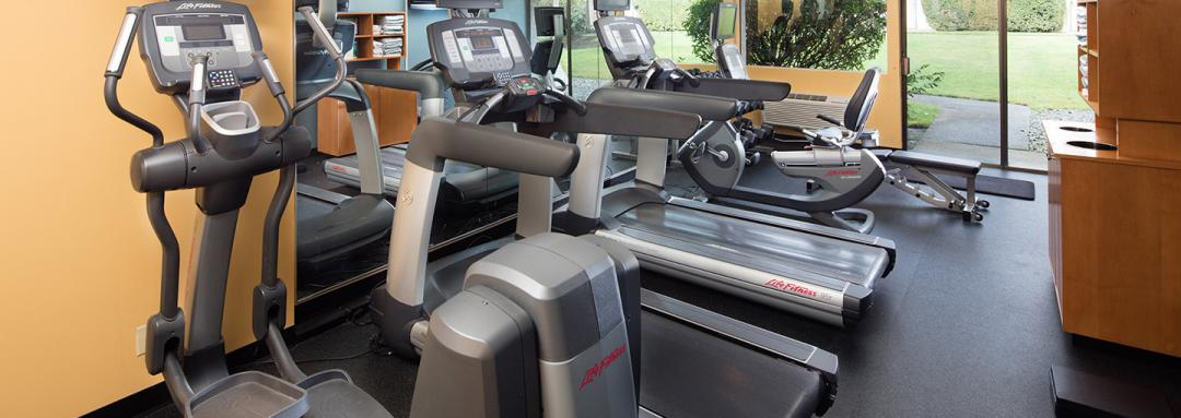 Fitness center with treadmill and bike