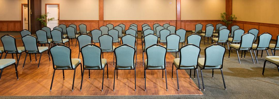 Spacious meeting room set up for comference