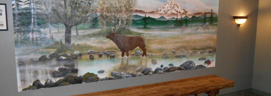 Moose Painting in lobby