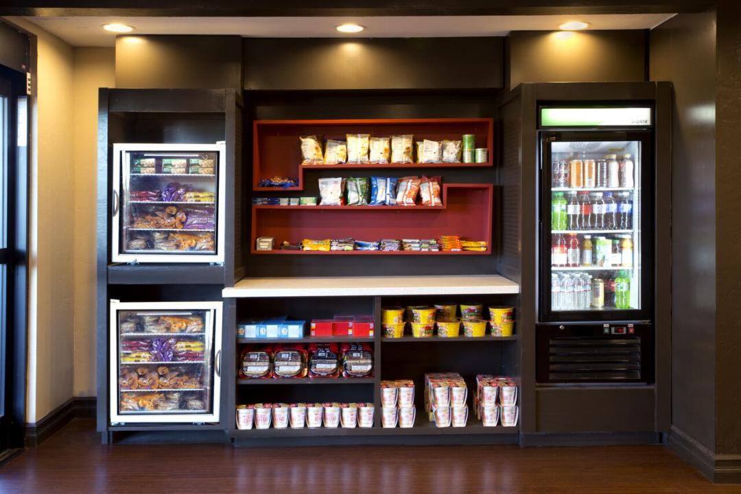 Hotel snack bar with mini fridges on each side
