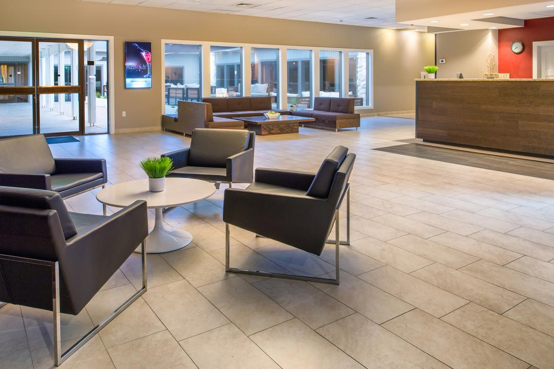 Spacious lobby with guest seating