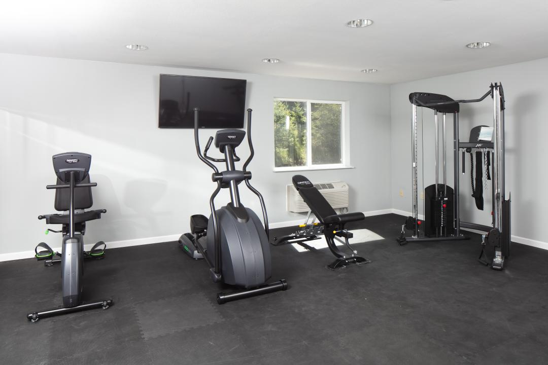 Fitness area with workout machines