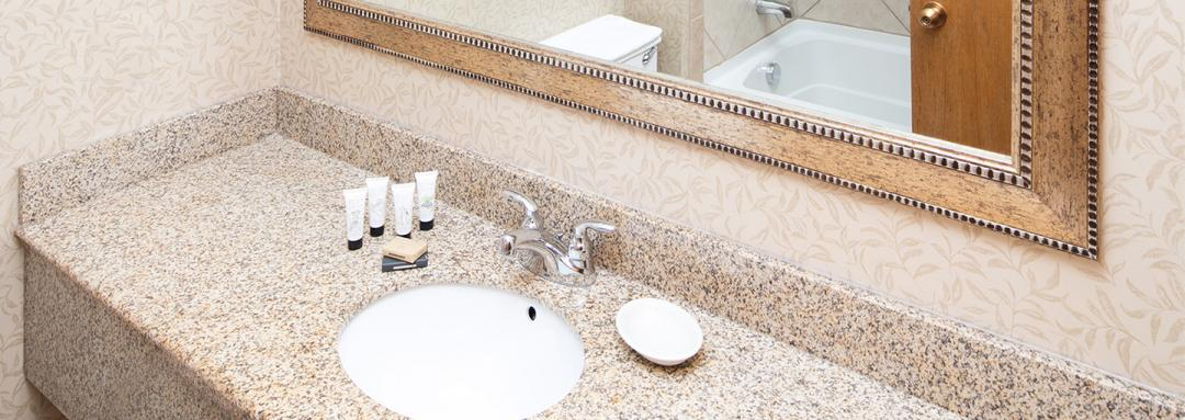 Guest Bathroom Vanity with Cascadia Bath Products