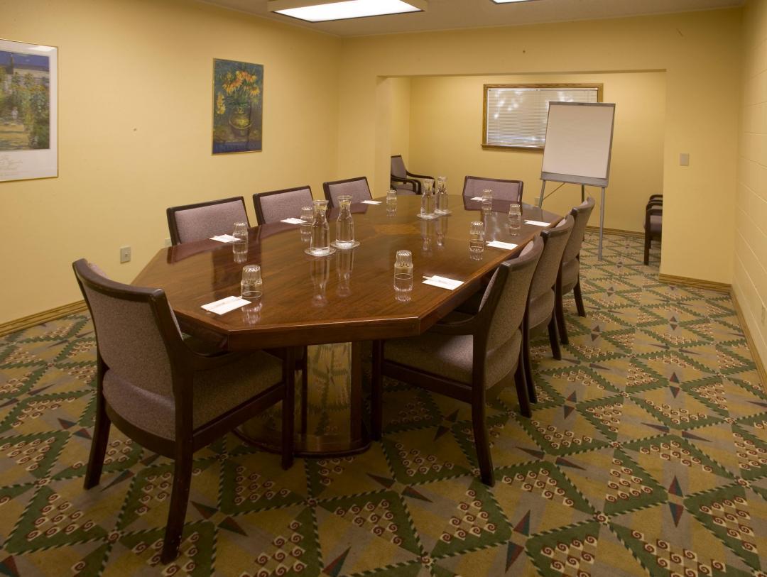 Meeting room set for presentation