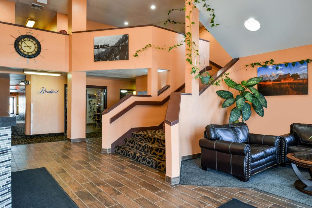 Spacious Lobby with Seating and stairs