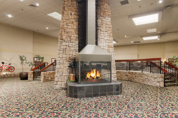 Lobby with large stone fireplace