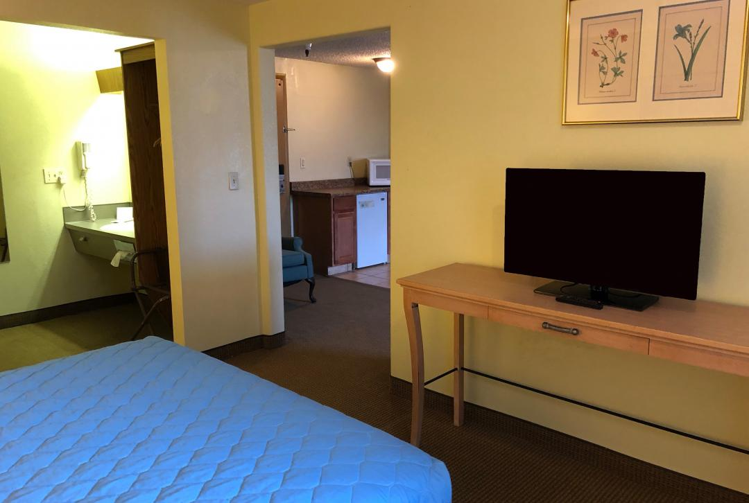 TV and amenities in Suite room